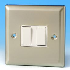 Varilight 2 Gang Intermediate 10A Rocker Light Switch Satin Chrome White Insert XN77W